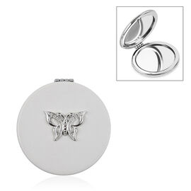Designer Inspired- Compact Mirror with Butterfly - White Colour