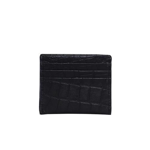 Assots London FANN Croc Embossed Genuine Leather RFID Credit Card Holder (Size 10x8.5cm)- Black