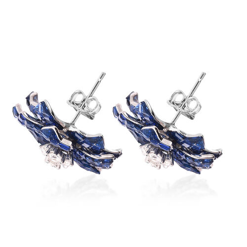 Lustro Stella - Mystery Setting Simulated Blue Sapphire and Simulated Diamond Floral Stud Earrings (with Push Back) in Rhodium Overlay Sterling Silver