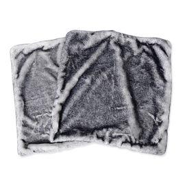 2 Piece Set - Faux Fur and Mink Cushion Cover (Size 45x45 Cm) - Colour Grey