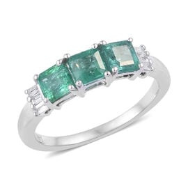 1 Carat AA Premium Emerald and Diamond 3 Stone Ring in 14K White Gold 2.64 Grams