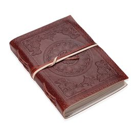 Floral Embossed Leather  Notebook with Strap (Size 17.78x12.7 Cm) - Maroon