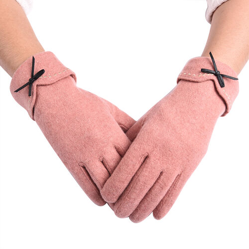 Super Soft Winter Cashmere Gloves with Bowknot - Rose