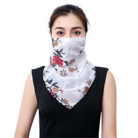 2 in 1 Flower Pattern Chiffon Soft Feel Scarf and Protective Face Mask (Size 45x45 Cm) - White