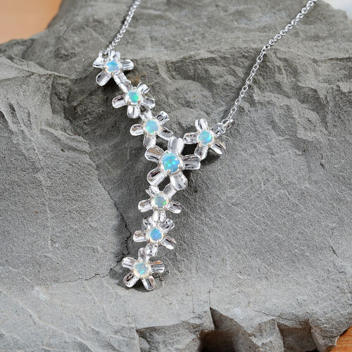 Ethiopian Welo Opal (Rnd) Necklace (Size 18) in Platinum Overlay Sterling Silver 1.500 Ct, Silver wt 7.50 Gms
