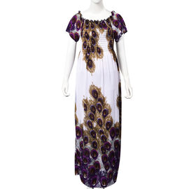 White, Brown and Purple Colour Peacock Feathers Pattern Summer Dress (Size 48x125 Cm)
