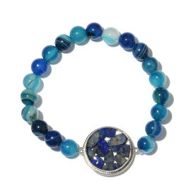 One Time Deal- Sodalite and Blue Onyx Beads Stretchable Bracelet (Size 7.5) in Platinum Plated