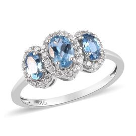 9K White Gold AA Santamaria Aquamarine and Natural Cambodian Zircon Ring 1.25 Ct.