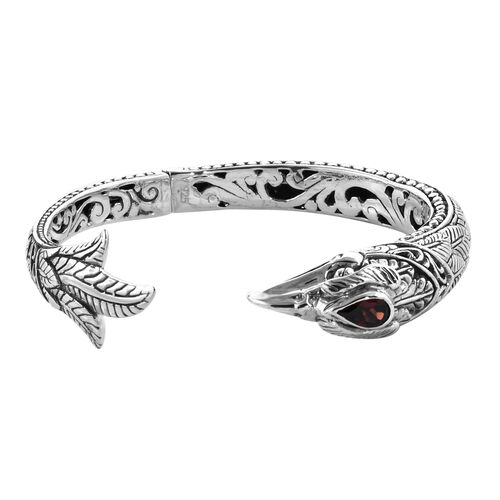 Bali Legacy Garnet Snake Cuff Bangle in Sterling Silver 7.5 Inch 34.18 Grams
