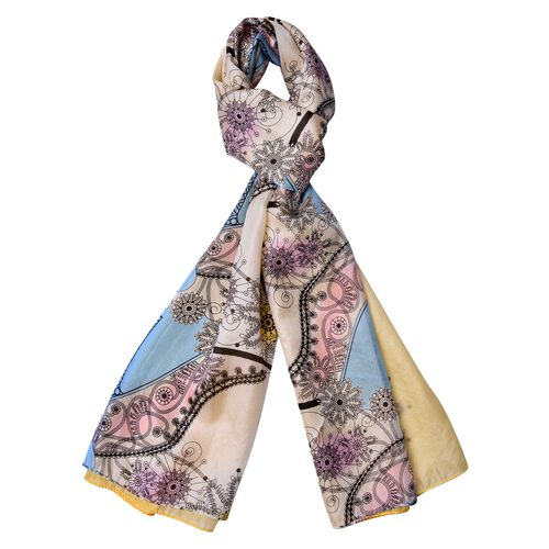 One Time Only - Close Out Deal 100% Mulberry Silk Blue, Yellow and Multi Colour Floral Heels Pattern
