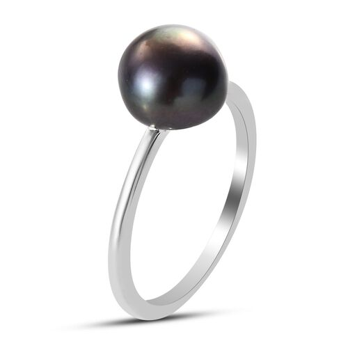 OTO - 2 Piece Set -  Fresh Water Peacock Pearl Solitaire Ring and Solitaire Stud Push Post Earring  Sterling Silver 7.25 ct  7.250  Ct.