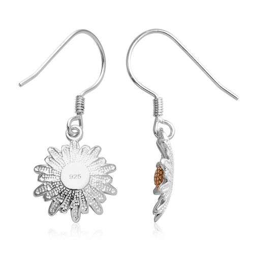 Platinum and Yellow Gold Overlay Sterling Silver Floral Hook Earrings