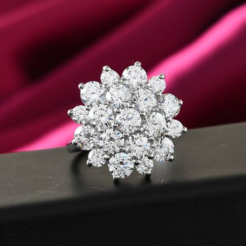 J Francis Platinum Overlay Sterling Silver Cluster Floral Ring Made with SWAROVSKI ZIRCONIA 7.20 Ct.