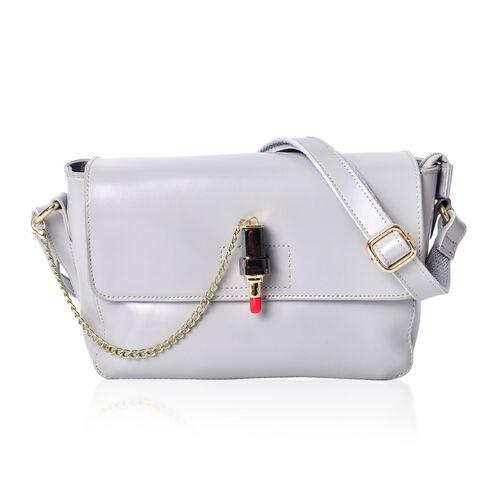 Designer Inspired Genuine Leather Lipstick Design Lock Light Grey Colour Crossbody Bag with External Zipper Pocket and Adjustable Shoulder Strap (Size 23X18X10 Cm)