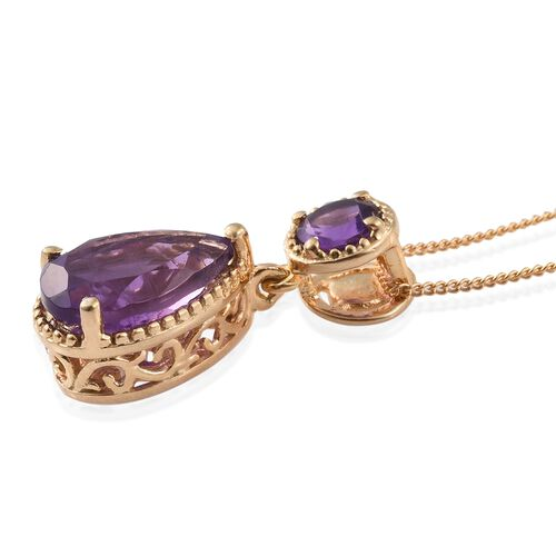 Lusaka Amethyst (Pear 2.80 Ct) Pendant with Chain in 14K Gold Overlay Sterling Silver 3.250 Ct.