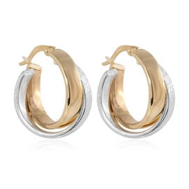 Hoop Earrings with Clasp in 9K White and Yellow Gold 3.10 Grams