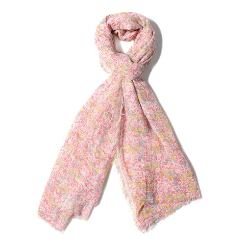 Red and Multi Colour Small Flower Pattern Scarf (Size 180x90 Cm)