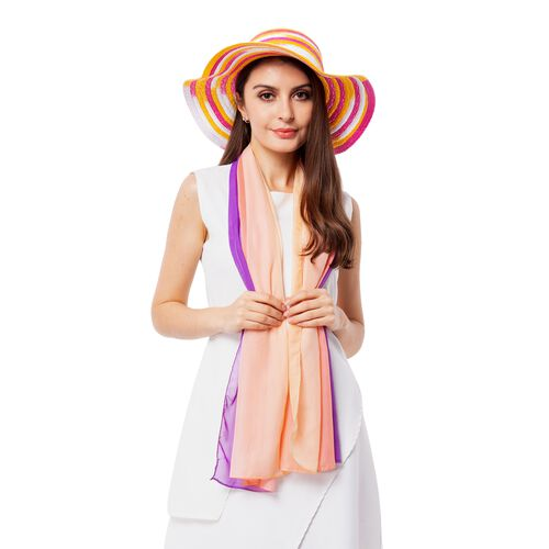 Purple, Pink and Multi Colour Stripe Pattern Scarf  (Size 155x50 Cm) with Matching Hat (Size 36x11 C