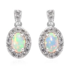 AA Ethiopian Welo Opal and Natural Cambodian Zircon Earrings (with Push Back) in Platinum Overlay St
