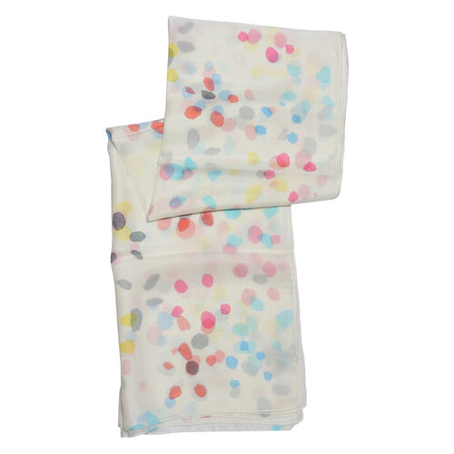 100% Mulberry Silk Red, Blue, Off White and Multi Colour Hand Screen Dots Printed Scarf (Size 180x100 Cm)