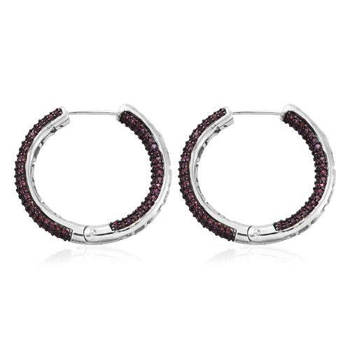 Designer Inspired - Rhodolite Garnet (Rnd) Hoop Earrings (with Clasp Lock) in Black Rhodium and Platinum Overlay Sterling Silver 4.750 Ct.Number Of Stones 368