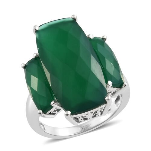 Verde Onyx (Cush 26x12 MM 13.50 Ct) 3 Stone Ring in Platinum Overlay Sterling Silver 17.750 Ct. Silver wt 5.24 Gms.