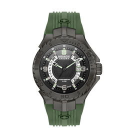 Swiss Military Hanowa Seaman Mens Analogue Watch with Black Dial and Olive Green Silicone Strap