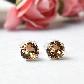 J Francis Crystal From Swarovski - Light Colorado Crystal Stud Earrings (with Push Back) in Sterling Silver