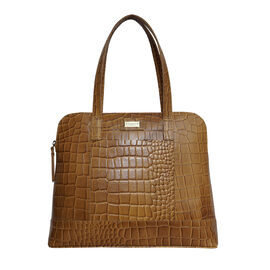 Assots London EVA 100% Genuine Leather Croc Embossed Handbag - Mustard