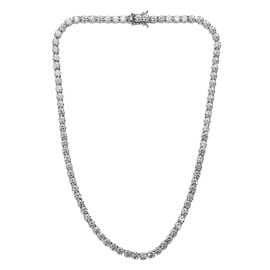 J Francis Platinum Overlay Sterling Silver (Rnd) Necklace (Size 18) Made with SWAROVSKI ZIRCONIA, Si
