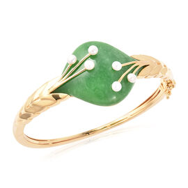 Green Jade and Freshwater Pearl Bangle (Size 7.5) in Yellow Gold Overlay Sterling Silver 65.40 Ct.