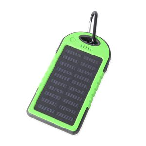 DOD- 4000mAh Power Bank (Size 15x7.5 Cm) with Solar Panel, 2 USB Ports, LED Flashlight, Buckle and USB Cable (Size 30 Cm) - Light Green and Black Colour (Navigation Fashion & Home Accessories) photo
