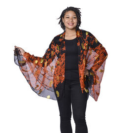 Close Out Deal- LA MAREY 100% Mulberry Silk Orange Scarf with Golden Embroidery (180x110cm)