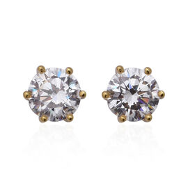 ELANZA Swiss Star Simulated Diamond (Rnd) Stud Earrings (with Push Back) in Yellow Gold Overlay Ster