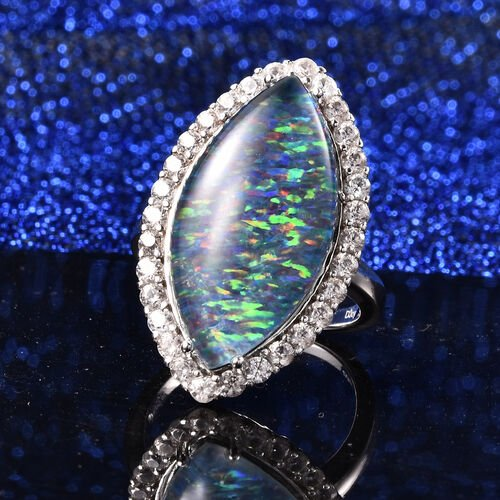 Australian Boulder Opal and Natural Cambodian Zircon Marquise (24x12mm) Ring in Rhodium Overlay Sterling Silver