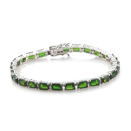 Super Auction- Extremely Rare Cut Russian Diopside (Oct) Tennis Bracelet (Size 7.5) in Platinum Overlay Sterling Silver 16.000 Ct, Silver wt 11.40 Gms.