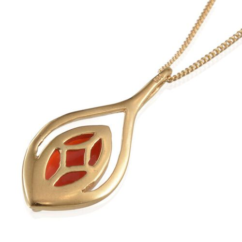 Natural Mediterranean Coral (Mrq) Solitaire Pendant with Chain in 14K Gold Overlay Sterling Silver 1.650 Ct.