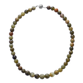 325 Ct AAA Mali Garnet Beaded Necklace in Rhodium Plated Silver with Magnetic 18 Inch