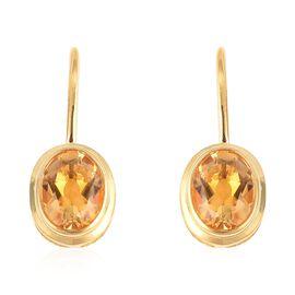 Brazilian Citrine (Ovl 10x8 mm) Hook Earrings in Yellow Gold Overlay Sterling Silver 6.640 Ct.