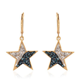 Blue and White Diamond (Bgt) Lever Back Star Earrings in 14K Gold and Platinum Overlay with Blue Plating Sterling Silver 0.500 Ct.