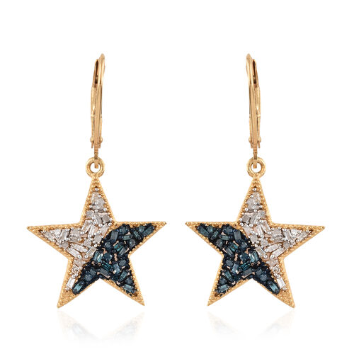 Blue and White Diamond (Bgt) Lever Back Star Earrings in 14K Gold and Platinum Overlay with Blue Pla