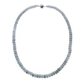 Green Amethyst (Rnd) Beads Necklace (Size 20) in Rhodium Overlay Sterling Silver 230.0 Ct.