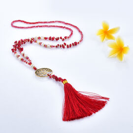 Coral Tree of Life Tassel Necklace with Faceted Glass Beads 32 Inch
