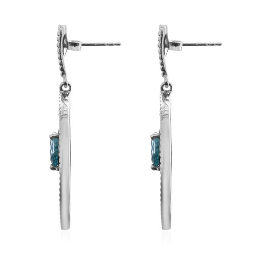 Ratanakiri Blue Zircon Earrings (with Push Back) in Rhodium Overlay Sterling Silver 2.24 Ct, Silver wt. 5.35 Gms