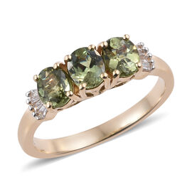 1.50 Ct Russian Demantoid Garnet and Diamond Trilogy Ring in 14K Yellow Gold 2.05 Grams