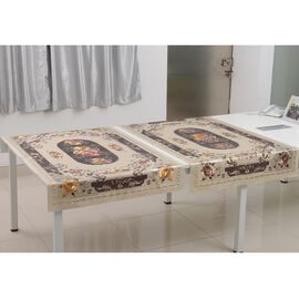 Set of 2 -  Multi Colour Backing Emboss Print Table Cloth (Size 150x90 Cm)