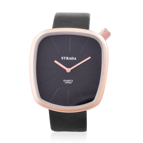 STRADA Japanese Movement Water Resistant Watch in Champagne Gold Tone with Stainless Steel Back and Black Colour Strap