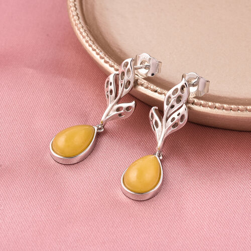 RACHEL GALLEY - Yellow Jade Drop Earrings (with Push Back) in Rhodium Overlay Sterling Silver