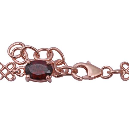 Rhodolite Garnet (Ovl 7x5 mm) Bracelet (Size 7.5 with Extender) in Rose Gold Overlay Sterling Silver 5.580 Ct. Silver wt 7.50 Gms.