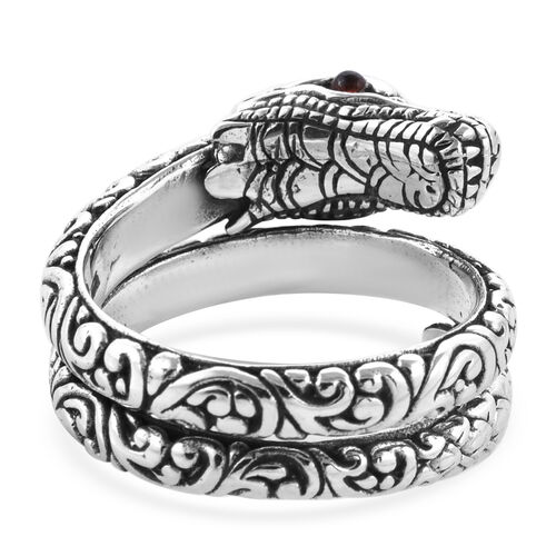 Royal Bali Collection Mozambique Garnet (Rnd) Dragon Ring in Sterling Silver 0.120 Ct, Silver wt 12.00 Gms